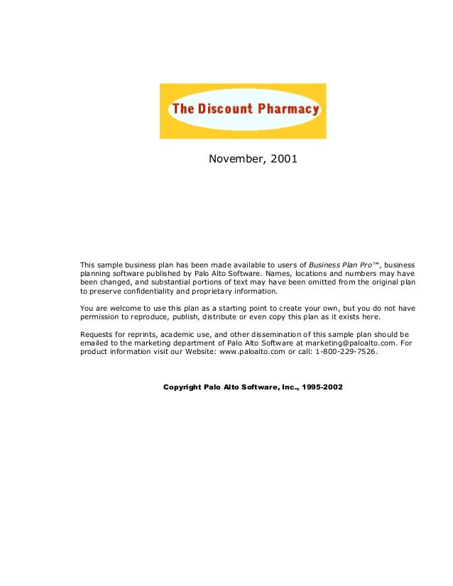 November, 2001 This sample business plan has been made available to users of Business Plan Pro™, business planning softwar...
