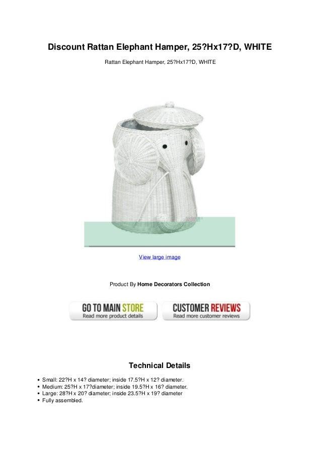 Discount Rattan Elephant Hamper 25 Hx17d White