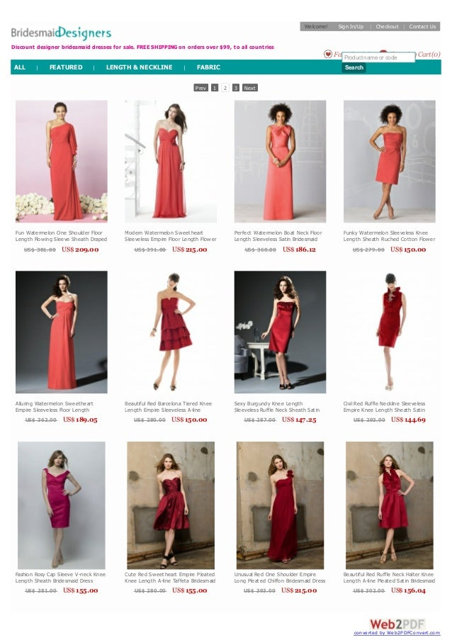 Discount Red Bridesmaid Dresses 2014