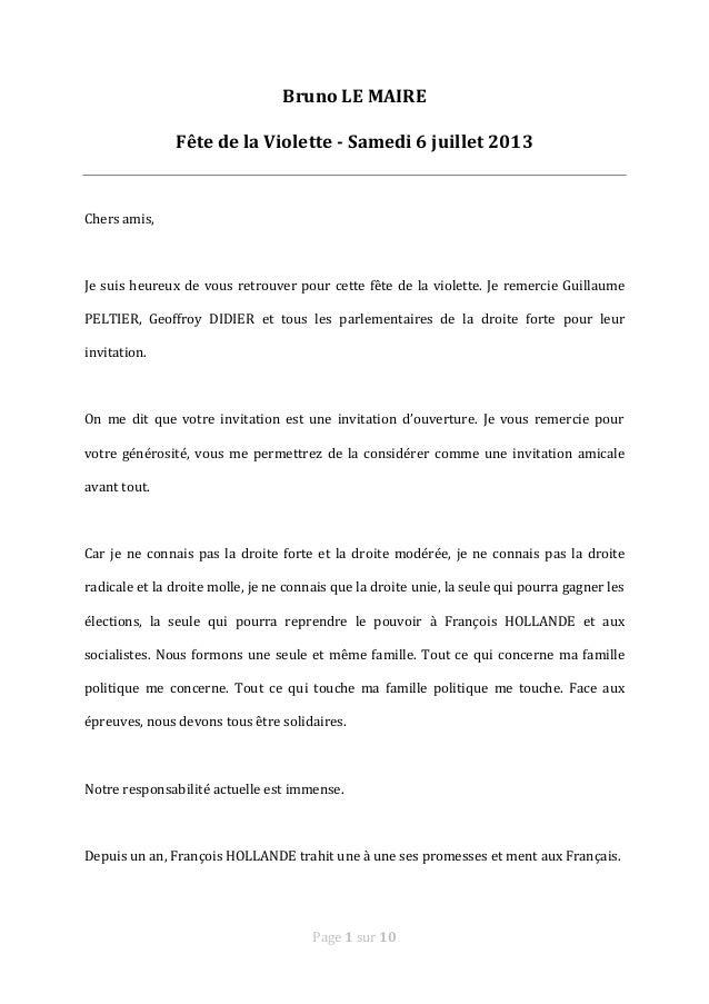 Page 1 sur 10 Bruno LE MAIRE Fête de la Violette - Samedi 6 juillet 2013 Chers amis, Je suis heureux de vous retrouver pou...