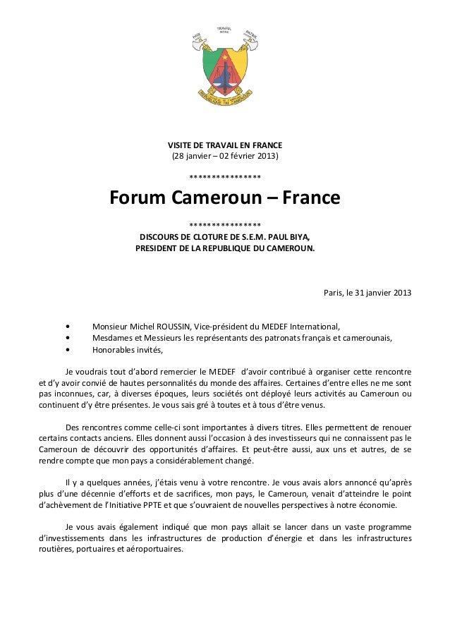 VISITE DE TRAVAIL EN FRANCE                                    (28 janvier – 02 février 2013)                             ...