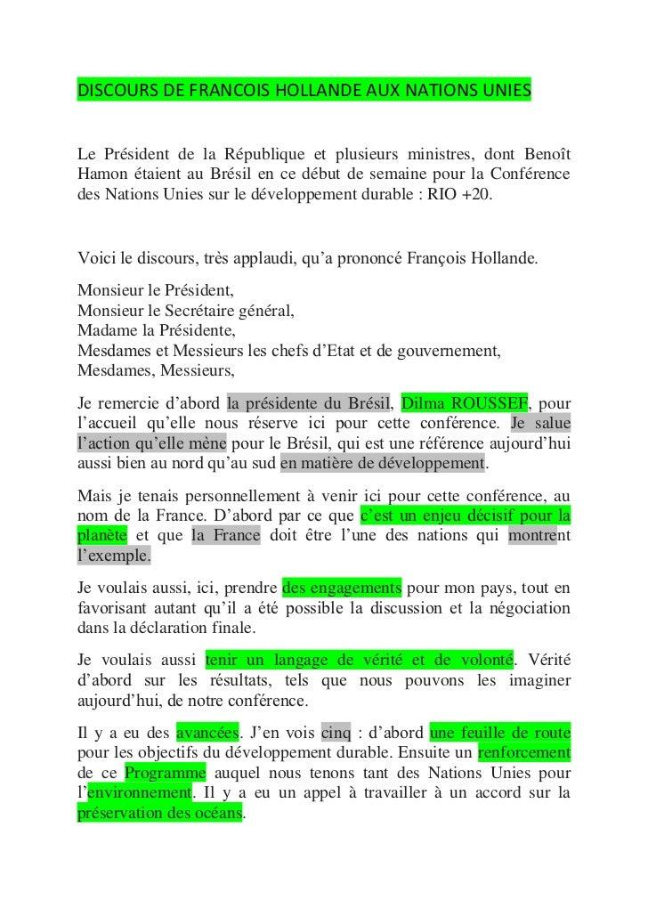DISCOURS DE FRANCOIS HOLLANDE AUX NATIONS UNIESLe Président de la République et plusieurs ministres, dont BenoîtHamon étai...