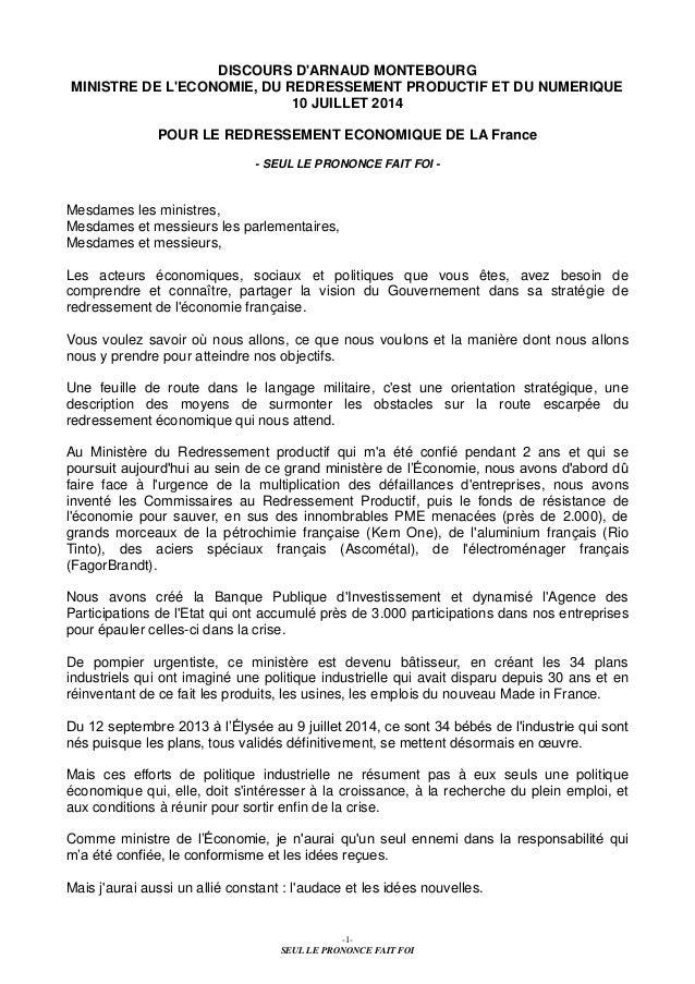 -1- SEUL LE PRONONCE FAIT FOI DISCOURS D'ARNAUD MONTEBOURG MINISTRE DE L'ECONOMIE, DU REDRESSEMENT PRODUCTIF ET DU NUMERIQ...