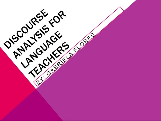 discourse analysis for language teachers: