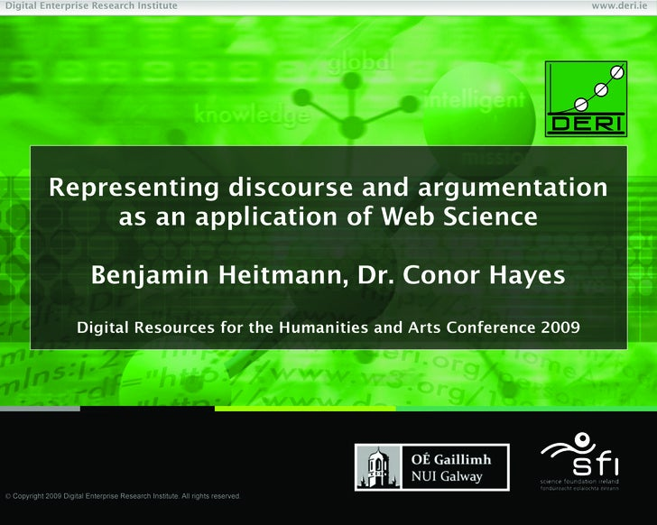 Representing discourse and argumentation as an application of Web Science