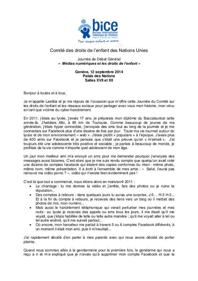 Comité des droits de l'enfant des Nations Unies  Journée de Débat Général  « Médias numériques et les droits de l'enfant »...
