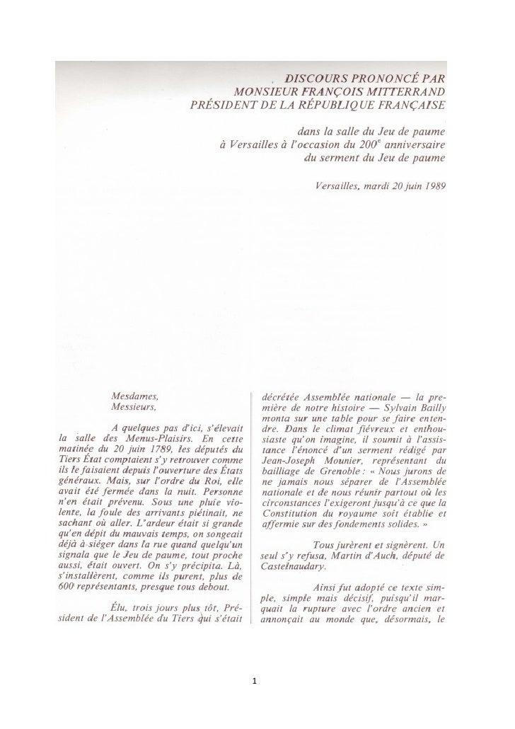 Discours Mitterrand Serment Jeu De Paume