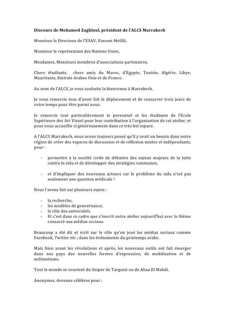 Discours de Mohamed Zaghloul, président de l'ALCS MarrakechMonsieur le Directeur de l'ESAV, Vincent Melilli,Monsieur le re...