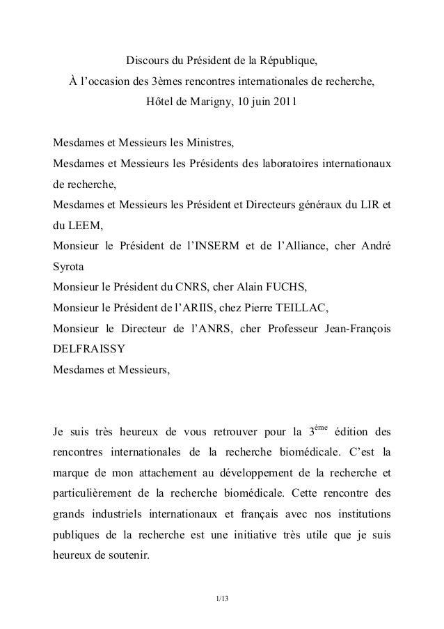 1/13 Discours du Président de la République, À l'occasion des 3èmes rencontres internationales de recherche, Hôtel de Ma...