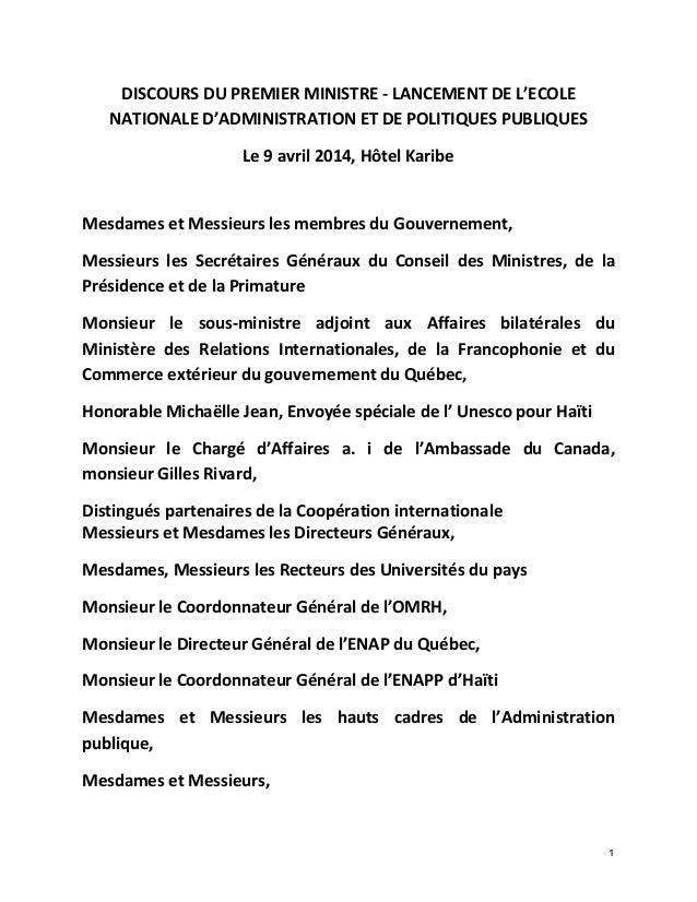 1   DISCOURS  DU  PREMIER  MINISTRE  -‐  LANCEMENT  DE  L'ECOLE   NATIONALE  D'ADMINISTRATION  ET...