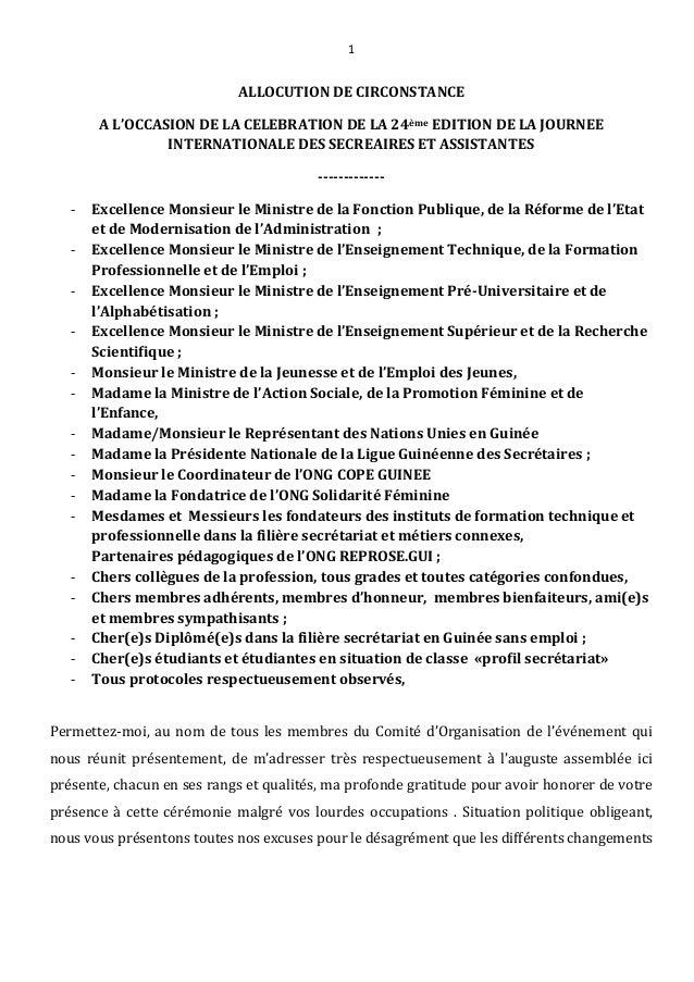 1 ALLOCUTION DE CIRCONSTANCE A L'OCCASION DE LA CELEBRATION DE LA 24ème EDITION DE LA JOURNEE INTERNATIONALE DES SECREAIRE...