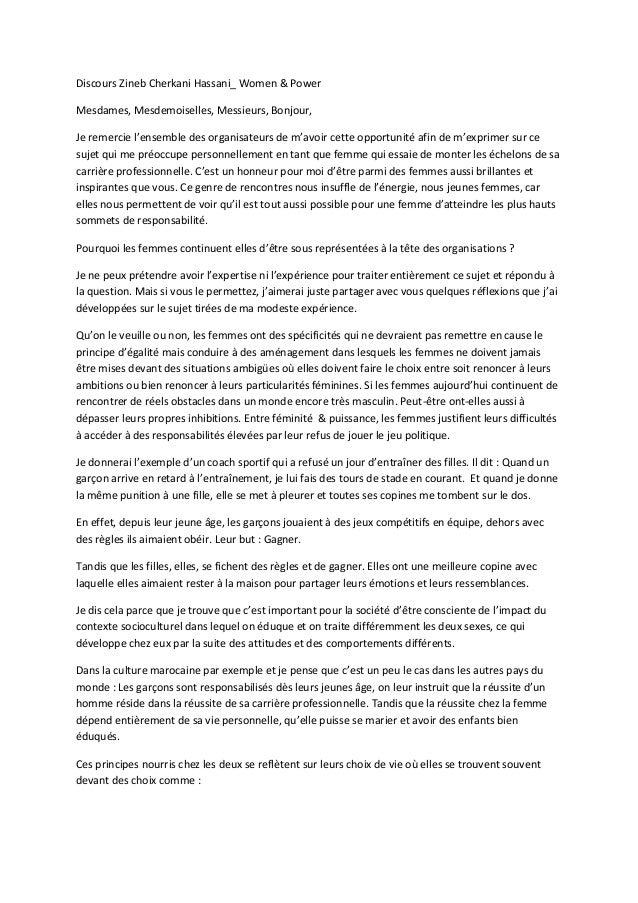 Discours Zineb Cherkani Hassani_ Women & Power Mesdames, Mesdemoiselles, Messieurs, Bonjour, Je remercie l'ensemble des or...
