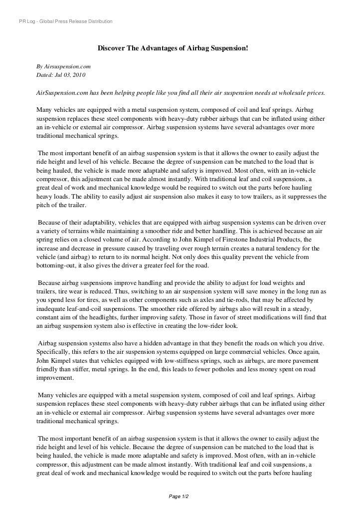 PR Log - Global Press Release Distribution                                   Discover The Advantages of Airbag Suspension!...