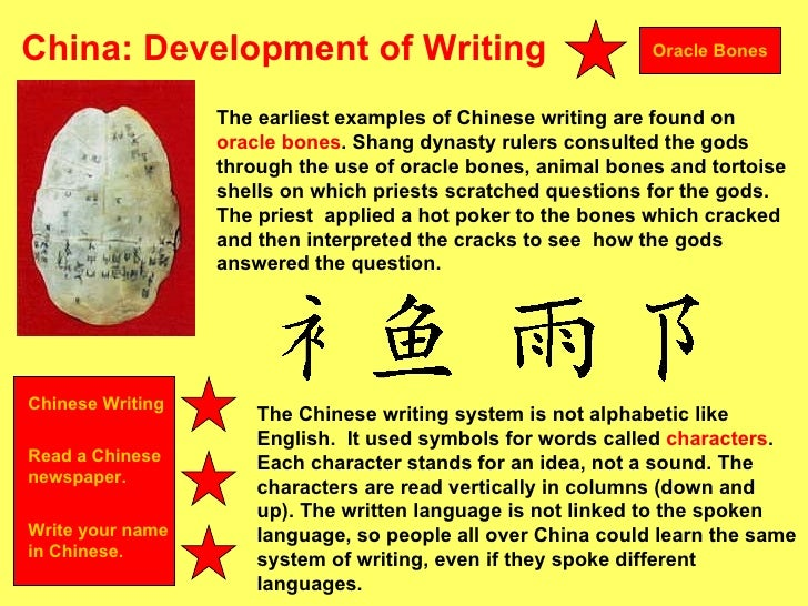 example of chinese writing Writing the chinese use a very different writing system to english english words are made up of a collection of letters that each has its own sound the chinese use logograms- where a symbol represents a meaning or a word.