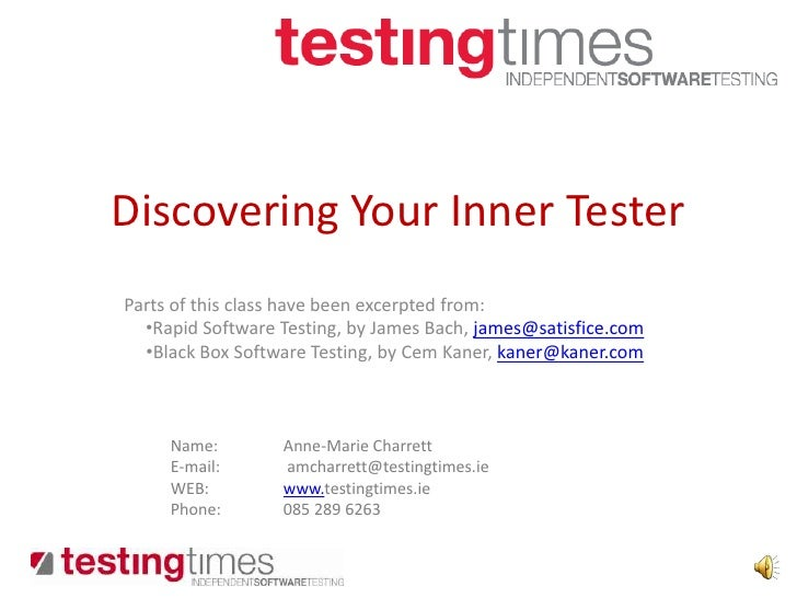 Discovering your inner tester