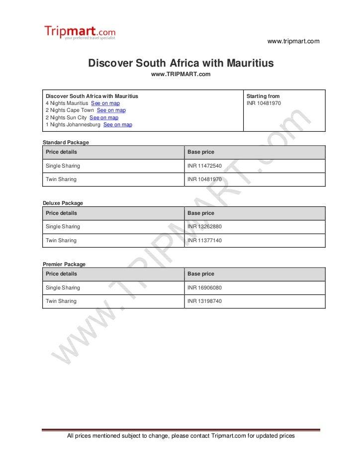 www.tripmart.com                  Discover South Africa with Mauritius                                        www.TRIPMART...