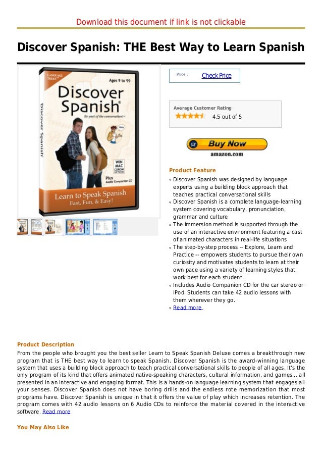 Download this document if link is not clickableDiscover Spanish: THE Best Way to Learn Spanish                            ...