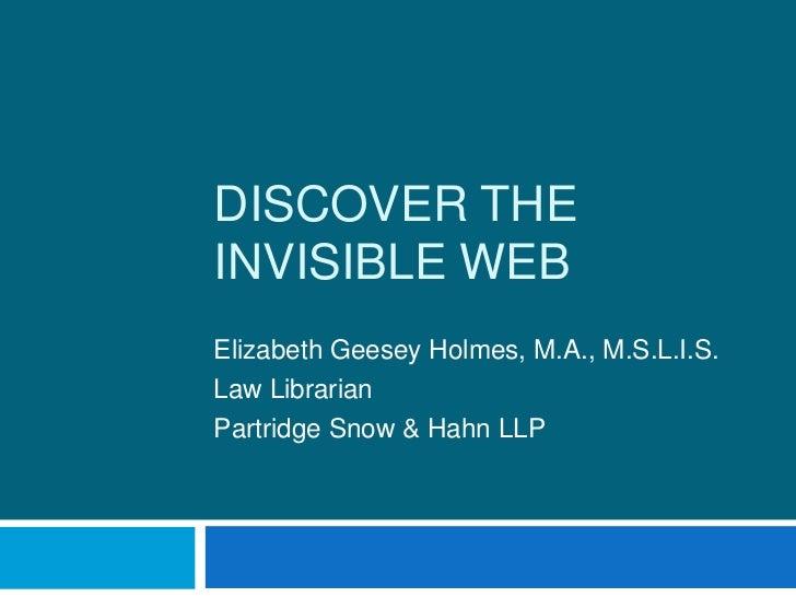 Discover the invisible web 2011 presentation
