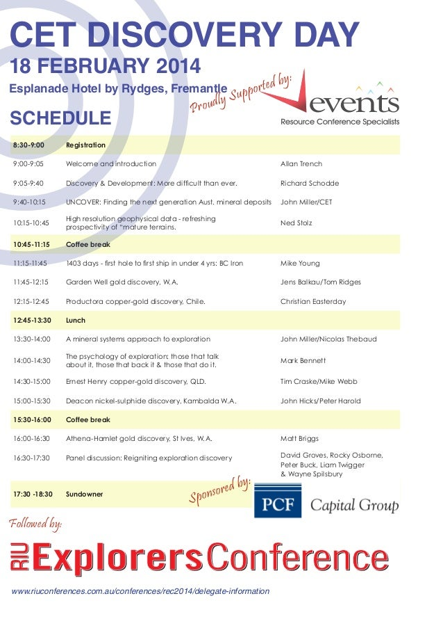 CET DISCOVERY DAY 18 FEBRUARY 2014  Esplanade Hotel by Rydges, Fremantle  SCHEDULE  dly Prou  S  db porte up  y:  	  8:30-...