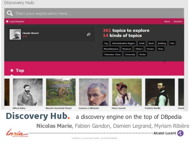 COPYRIGHT © 2011 ALCATEL-LUCENT. ALL RIGHTS RESERVED. Discovery hub - a discovery engine on the top of DBpedia Nicolas Mar...