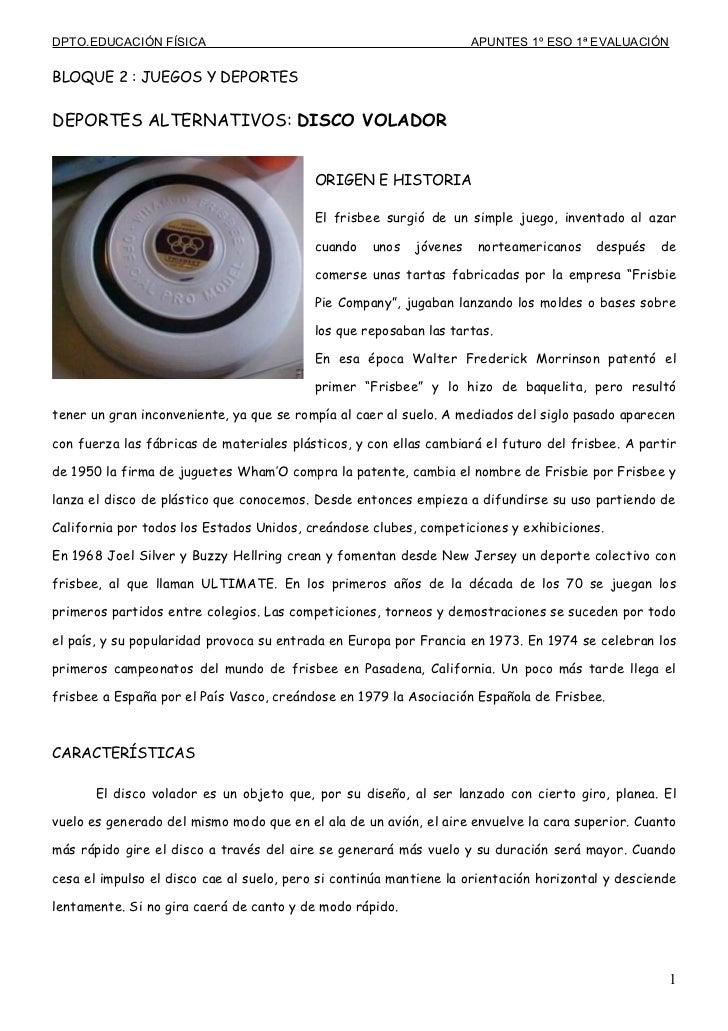 DPTO.EDUCACIÓN FÍSICA                                                APUNTES 1º ESO 1ª EVALUACIÓNBLOQUE 2 : JUEGOS Y DEPOR...