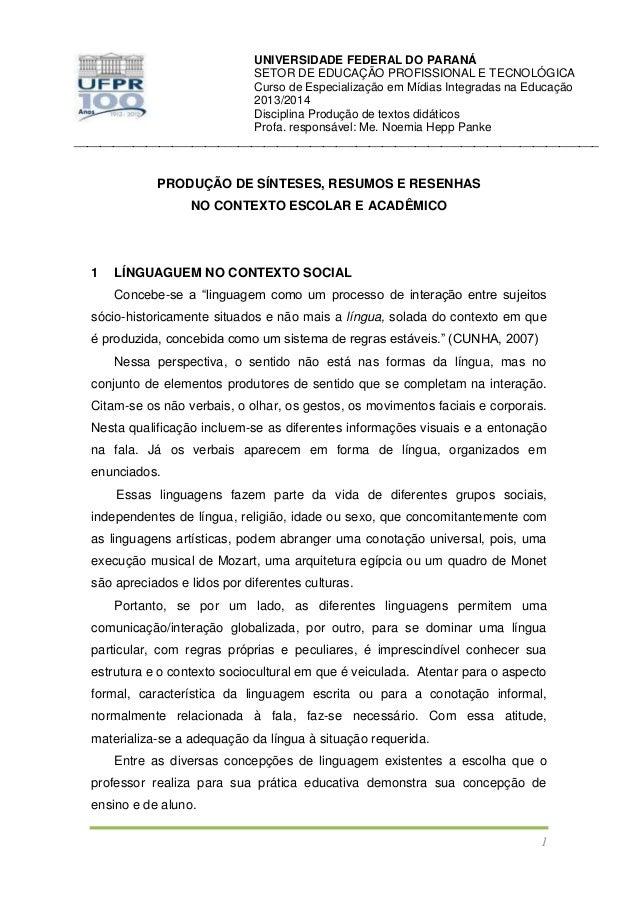 UNIVERSIDADE FEDERAL DO PARANÁ SETOR DE EDUCAÇÃO PROFISSIONAL E TECNOLÓGICA Curso de Especialização em Mídias Integradas n...
