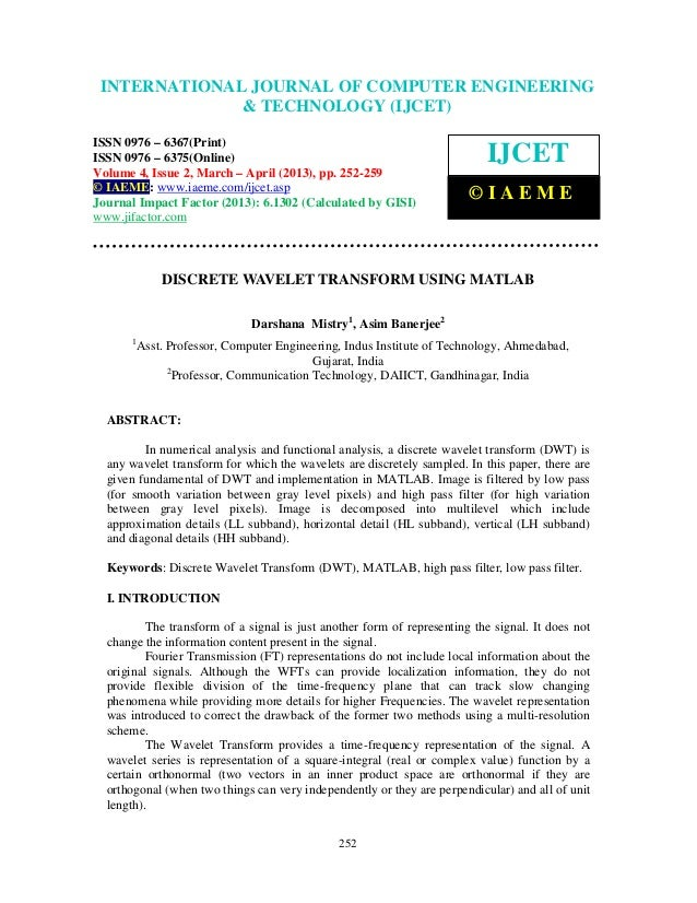 Discrete wavelet transform using matlab