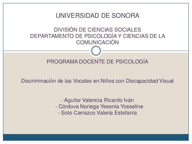 UNIVERSIDAD DE SONORADIVISIÓN DE CIENCIAS SOCIALESDEPARTAMENTO DE PSICOLOGÍA Y CIENCIAS DE LACOMUNICACIÓNPROGRAMA DOCENTE ...