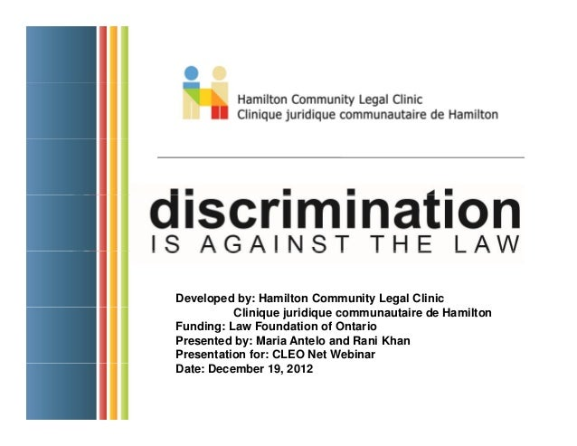 Discrimination is Against the Law! A Primer on Human Rights Law in Ontario
