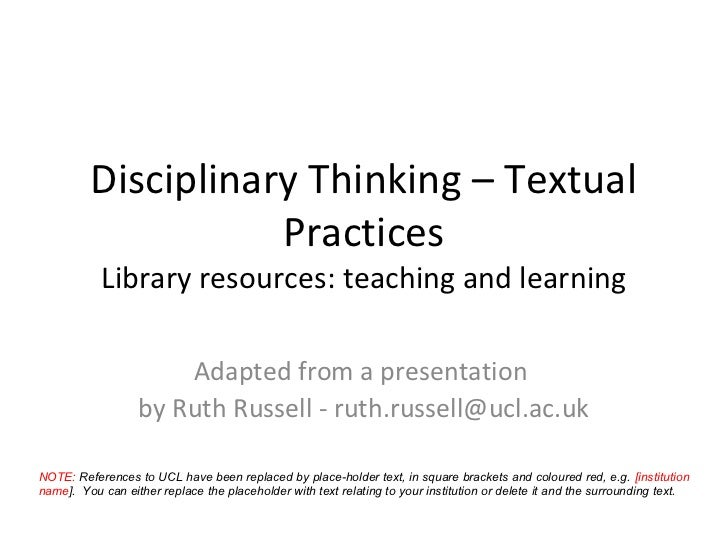 Disciplinary Thinking: Library Resources