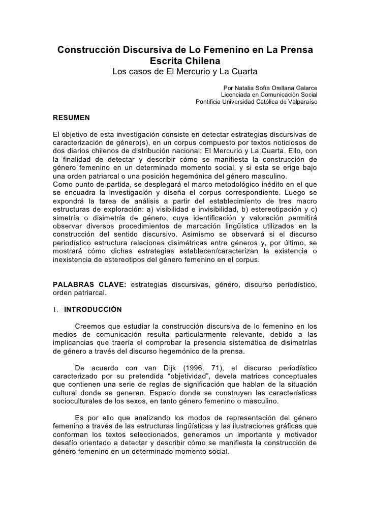Construcción Discursiva de Lo Femenino en La Prensa                    Escrita Chilena                   Los casos de El M...
