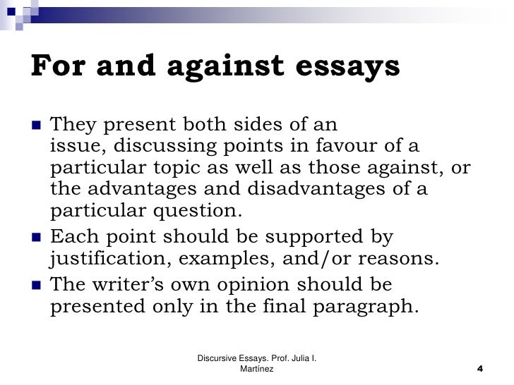 discursive essay environment No empieces tu essay con fórmulas de tipo i'm going to write about this or that topic  while others argue that it is bad for the environment.
