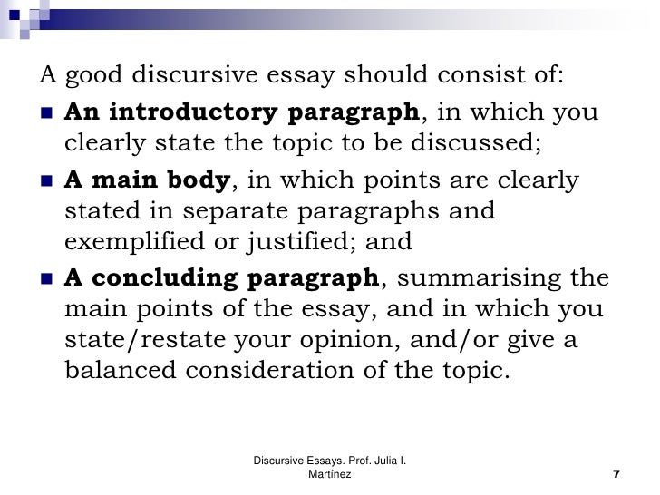 introduction discursive essay