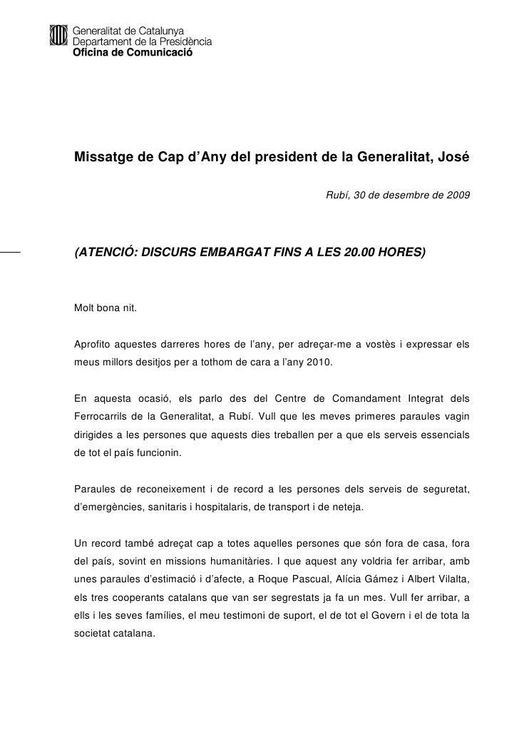Missatge de Cap d'Any del president de la Generalitat, José                                                           Rubí...
