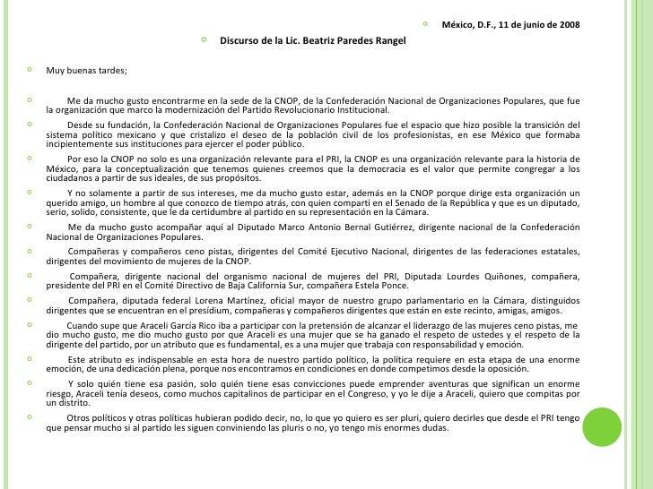 <ul><li>México, D.F., 11 de junio de 2008 </li></ul><ul><li>Discurso de la Lic. Beatriz Paredes Rangel </li></ul><ul><li>M...