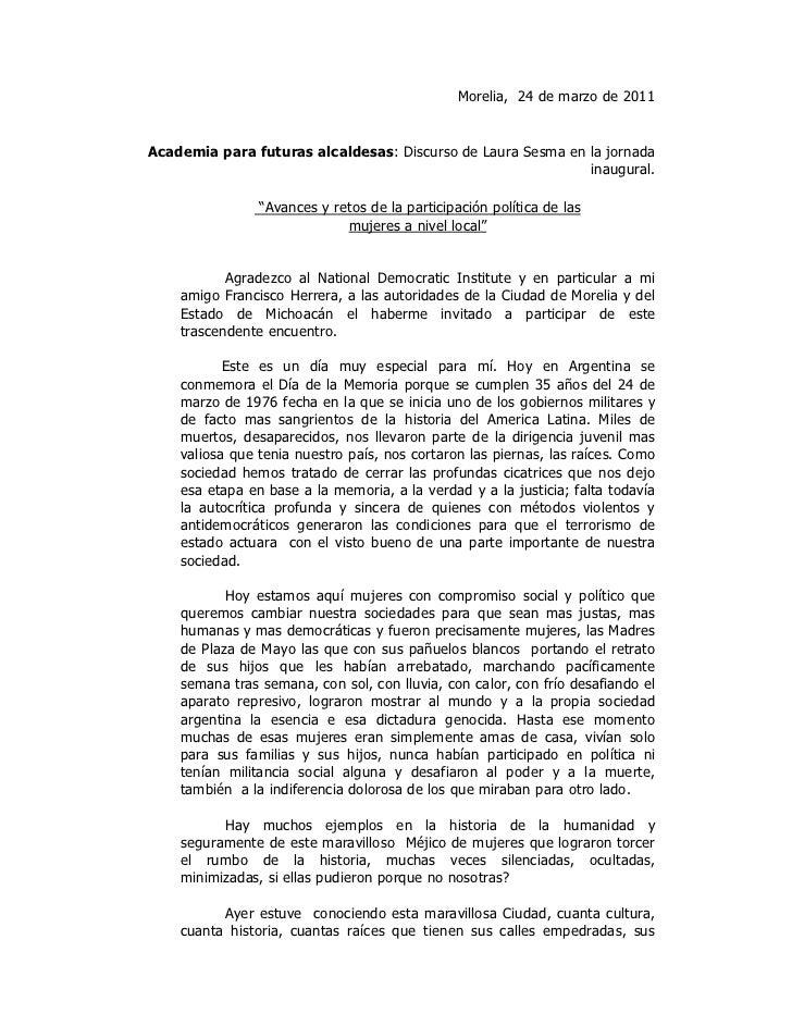Morelia, 24 de marzo de 2011Academia para futuras alcaldesas: Discurso de Laura Sesma en la jornada                       ...