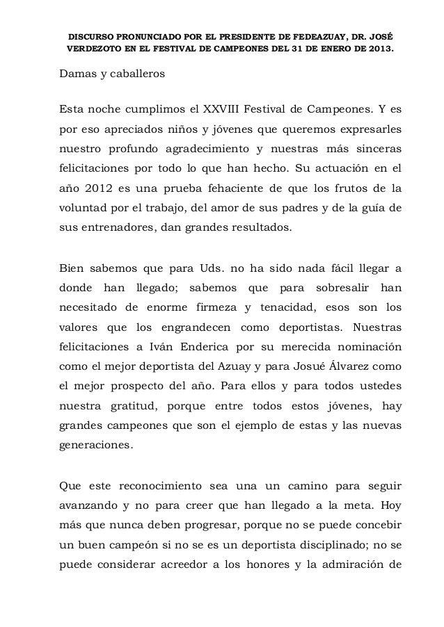 DISCURSO PRONUNCIADO POR EL PRESIDENTE DE FEDEAZUAY, DR. JOSÉ