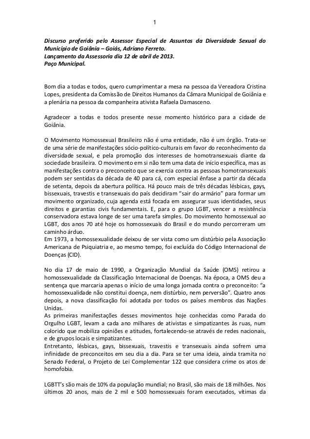 Discurso do Assessor de Diversidade Sexual de Goiânia Adrano Ferreto.
