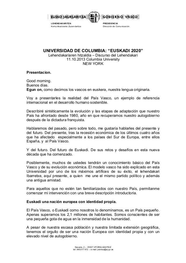 """LEHENDAKARITZA Komunikaziorako Zuzendaritza  PRESIDENCIA Dirección de Comunicación  UNIVERSIDAD DE COLUMBIA: """"EUSKADI 2020..."""