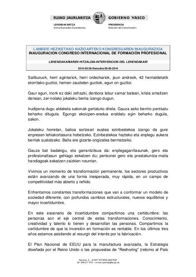 Lehendakariaren hitzaldia - Lanbide Heziketako Nazioarteko Kongresuaren inaugurazioa