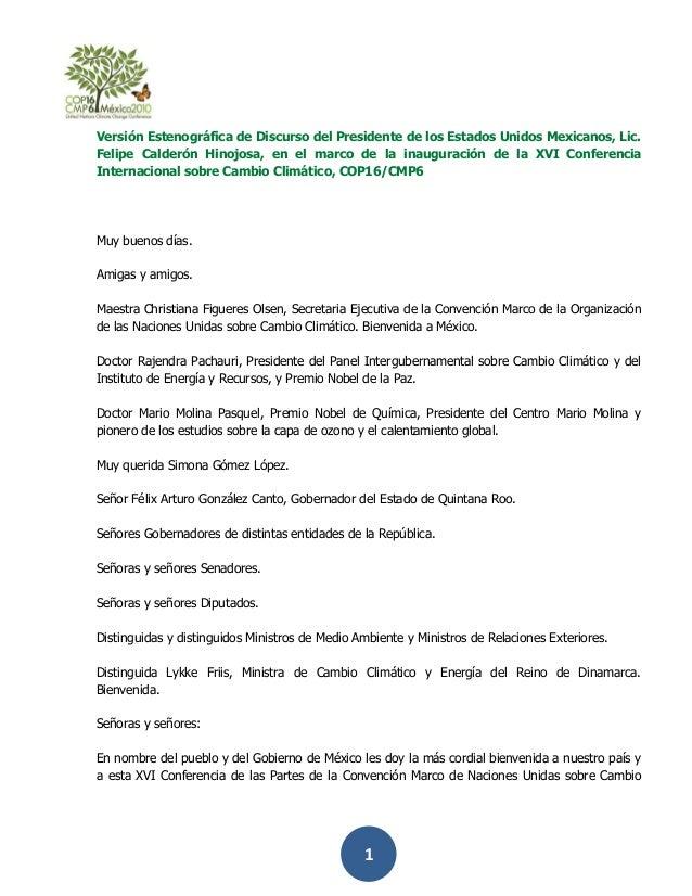 Versión Estenográfica de Discurso del Presidente de los Estados Unidos Mexicanos, Lic.Felipe Calderón Hinojosa, en el marc...