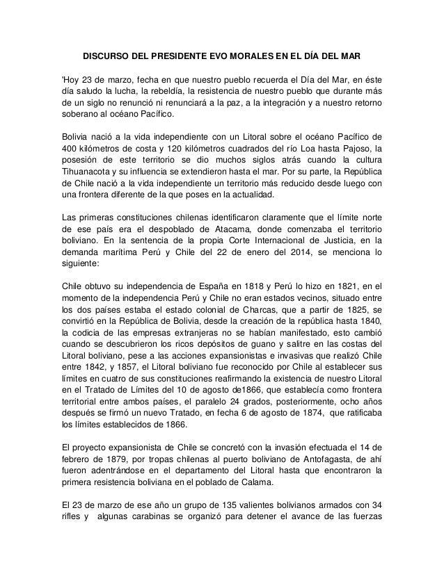 DISCURSO DEL PRESIDENTE EVO MORALES EN EL DÍA DEL MAR 'Hoy 23 de marzo, fecha en que nuestro pueblo recuerda el Día del Ma...