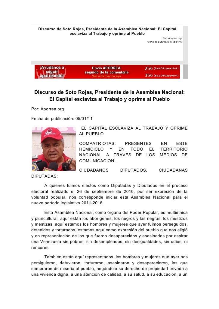 Discurso de Soto Rojas, Presidente de la Asamblea Nacional: El Capital                  esclaviza al Trabajo y oprime al P...