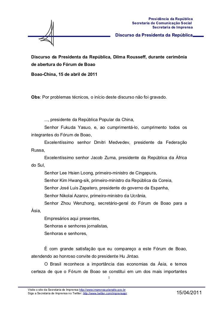 Discurso Dilma no Forum