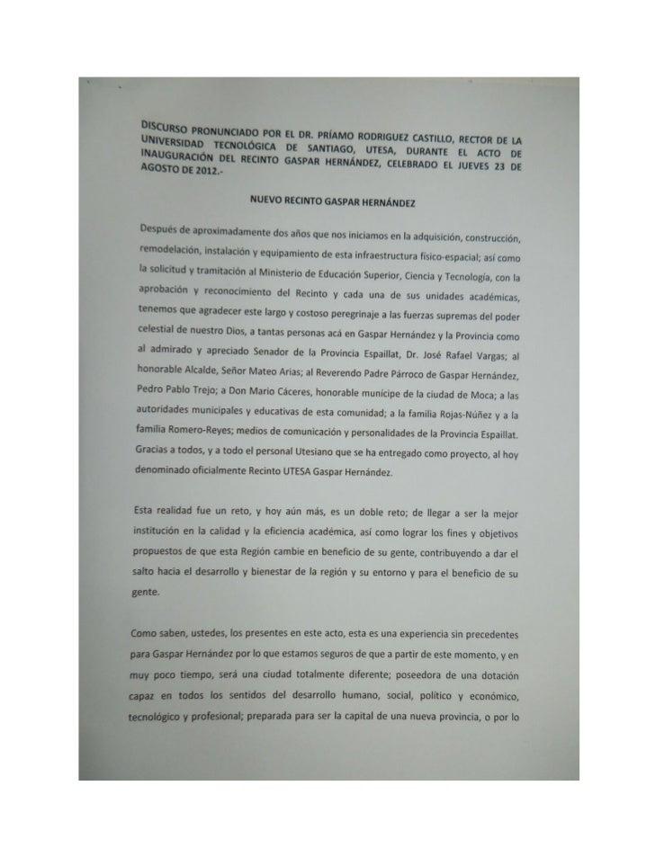 Discurso del Rector de UTESA, Inauguración extensión Gaspar Hernández _Gasparensealdia.com
