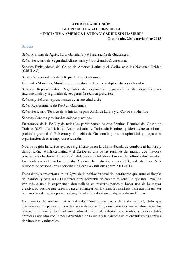 """APERTURA REUNIÓN GRUPO DE TRABAJO2025 DE LA """"INICIATIVA AMÉRICA LATINA Y CARIBE SIN HAMBRE"""" Guatemala, 20 de noviembre 201..."""