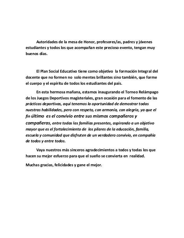 Discurso inauguración juegos magisteriales 2012