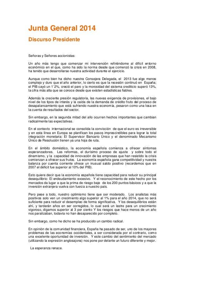Discurso Presidente Junta Accionistas 2014