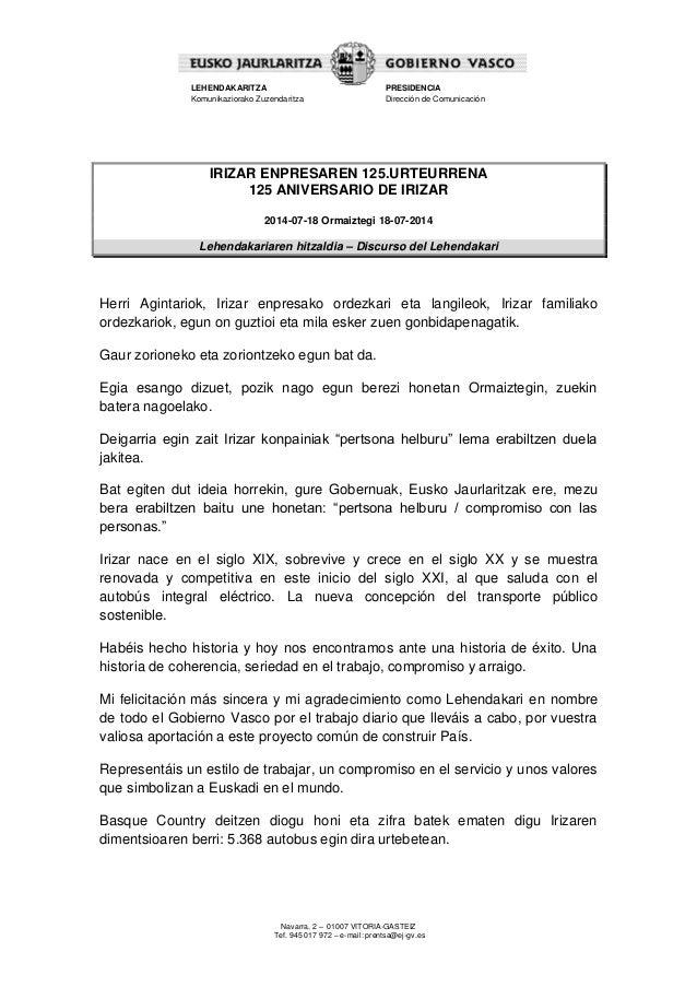 Discurso del Lehendakari - 125 aniversario de Irizar