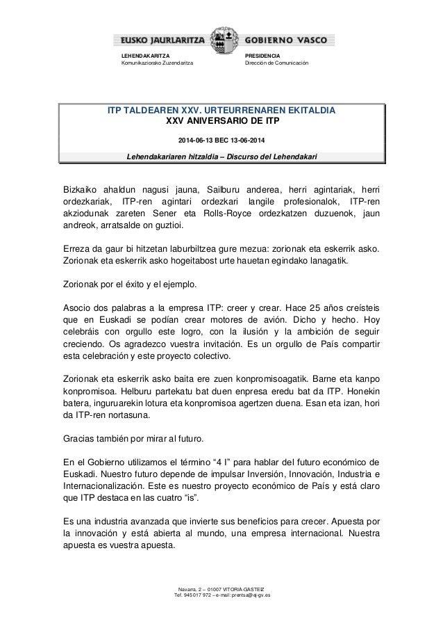 Lehendakariaren hitzaldia -  ITP taldearen XXV. urteurrenaren ekitaldia